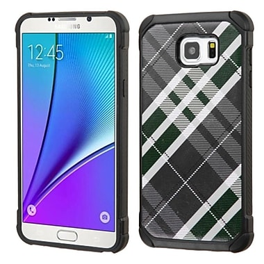 Insten Diagonal Plaid Hard Hybrid Shockproof Rubberized Silicone Case For Samsung Galaxy Note 5 - Gray/White (2162289)