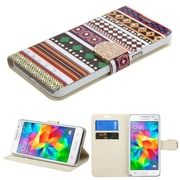 Insten Ethnic Customs Flip Leather Fabric Case w/stand/card slot/Diamond For Samsung Galaxy Grand Prime - Colorful (2162907)