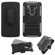 Insten Hard Dual Layer Plastic Silicone Cover Case w/Holster For LG V10 - Black/Gray (2181392)