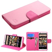Insten Folio Leather Fabric Case w/stand/card holder For HTC Desire 626/626s - Pink (2136770)