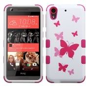 Insten Butterfly Dancing Hard Dual Layer Silicone Case For HTC Desire 626/626s - Hot Pink/White (2141644)