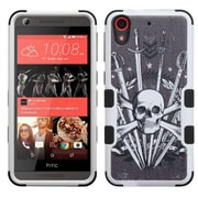 Insten Tuff Sword Skull Hard Dual Layer Rubber Silicone Case For HTC Desire 626/626s - Black/White (2148362)