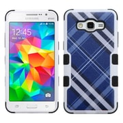 Insten Diagonal Plaid Hard Hybrid Rubber Coated Silicone Case For Samsung Galaxy Grand Prime - Blue/Black (2149472)