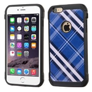 Insten Diagonal Plaid Hard Hybrid Rubber Silicone Cover Case For Apple iPhone 6 Plus/6s Plus - Blue/White (2162262)