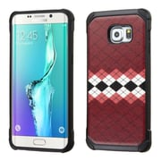 Insten Argyle Hard Hybrid Rubberized Silicone Cover Case For Samsung Galaxy S6 Edge Plus - Brown/Black (2162297)
