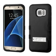 Insten Hard Dual Layer Rubber Coated Silicone Cover Case w/stand For Samsung Galaxy S7 Edge - Black (2208034)