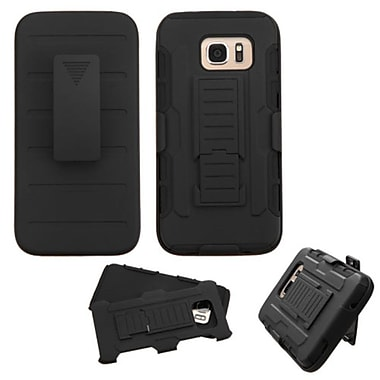 Insten Hard Hybrid Plastic Silicone Case w/stand/Holster For Samsung Galaxy S7 Edge - Black (2208224)