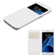 Insten Flip Leather Fabric Cover Case For Samsung Galaxy S7, White (2208273)