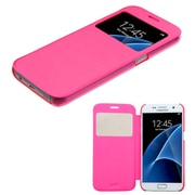 Insten Folio Leather Fabric Cover Case For Samsung Galaxy S7 - Hot Pink (2208274)