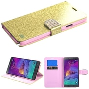 Insten Book-Style Leather Fabric Cover Case w/stand/card holder/Diamond For Samsung Galaxy Note 4 - Gold (1983240)