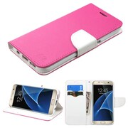 Insten Flip Leather Fabric Cover Case w/stand/card holder For Samsung Galaxy S7 Edge - Hot Pink/White (2208052)