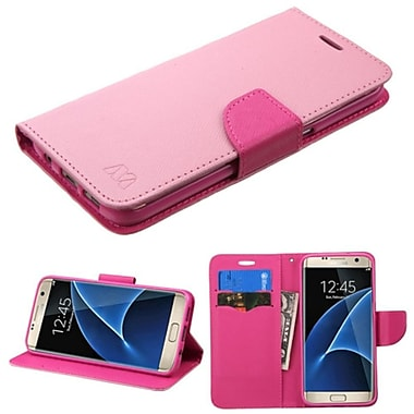 Insten Flip Leather Fabric Cover Case w/stand/card slot For Samsung Galaxy S7 Edge - Pink (2208053)