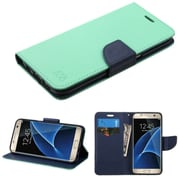 Insten Flip Leather Fabric Cover Case w/stand/card holder For Samsung Galaxy S7 Edge - Green/Blue (2208055)