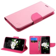 Insten Folio Leather Fabric Case w/stand/card holder For LG K7 - Pink (2208234)