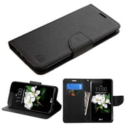 Insten Folio Leather Fabric Cover Case w/stand/card holder For LG K7 - Black (2208235)