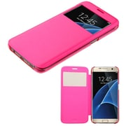 Insten Folio Leather Fabric Case For Samsung Galaxy S7 Edge - Hot Pink (2208271)