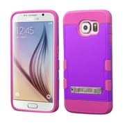 Insten Hard Rubber Silicone Cover Case w/stand For Samsung Galaxy S6 - Purple/Hot Pink (2127220)