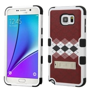 Insten Tuff Diagonal Plaid Hard Dual Layer Rubberized Cover Case w/stand For Samsung Galaxy Note 5 - Brown/Black (2149478)