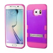 Insten Hard Rubber Coated Silicone Case w/stand For Samsung Galaxy S6 Edge - Purple/Hot Pink (2162045)