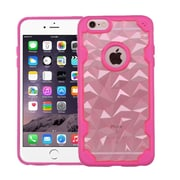 Insten Crystal Clear Transparent Polygon Back Panel w/TPU Bumper Case For iPhone 6S Plus/6 plus, Rose Gold /Hot Pink (2185475)