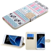 Insten Jumping Fishes Folio Leather Fabric Case w/stand/card slot/Diamond For Samsung Galaxy S7 - Pink/Blue (2208266)