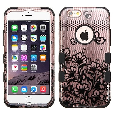 Insten Tuff Lace Flowers Hard Dual Layer Rubber Silicone Cover Case For Apple iPhone 6 Plus/6s Plus - Black (2177658)