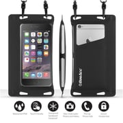 """BasAcc IPX8 certified Waterproof Pouch Dry Bag Full Accessibility Carrying Case 6.5""""x3.5"""" for Smartphone, Black (2211500)"""
