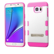Insten Hard Dual Layer Rubber Coated Silicone Cover Case w/stand For Samsung Galaxy Note 5 - White/Hot Pink (2165014)