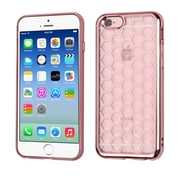 Insten Honeycomb Transparent Back Panel Rubber TPU Case with Electroplated Bumper For Apple iPhone 6s 6 - Rose Gold (2189754)