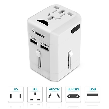 Insten ? Adaptateur d?alimentation international avec chargeur international intégré à 2 ports USB de 2,5 A, blanc (2194638)