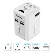 Insten Worldwide Travel Power Adapter with Built-in Dual Port USB Charger 2.5A International (US UK EU AU China) White (2194638)