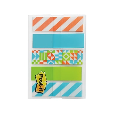Post-it® Flags, Assorted Patterns, 1 Dispenser/Pack, 100 Flags/Dispenser