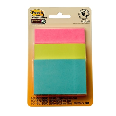 Post-it® - Feuillets super collants, collection Miami, tailles variées, bloc/45 feuillets, paq./3 blocs