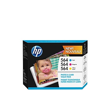 HP - Cartouche photo 564, paquet économique, 85 feuilles (J2X80AC#140)