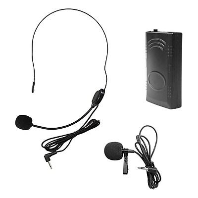 Hamilton Buhl™ VENUBP2145 Belt Pack with Lapel Microphone and Head Worn Microphone, Black
