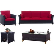 All Things Cedar 4 Piece Deep Seating Group w/ Cushions; Red