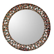 Novica Forest Mosaic Artisan Crafted Round Wall Mirror w/ Glass Mosaic Frame