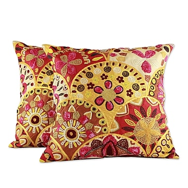 Novica Fiery Flowers Embroidered Indian Floral Pillow Cover