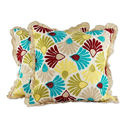 Novica Floral Delight Floral Embroidered Cotton Pillow Cover (Set of 2)