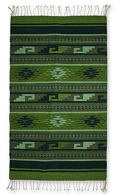 Novica Zapotec Hand Woven Green Area Rug