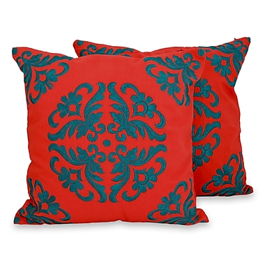 Novica Kaleidoscope Embroidered Cotton Pillow Cover (Set of 2)