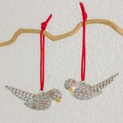Novica Magellan Plover Hand-Crafted Ceramic Bird Ornament (Set of 2)