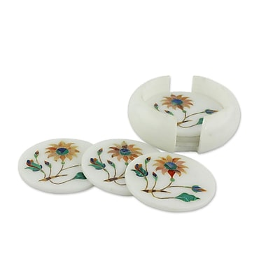 Novica Dahlia Gems Floral Marble Inlay Coaster (Set of 6)