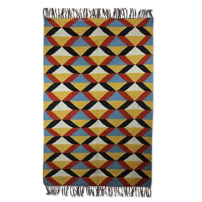 Novica Hand-Loomed Yellow/Blue Area Rug