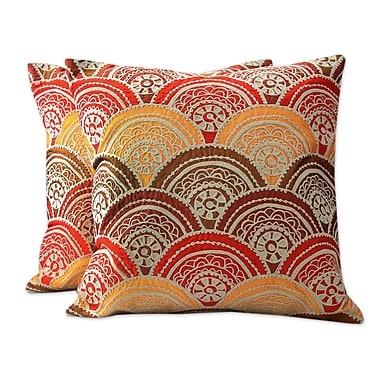 Novica Coming Up Flowers Traditional Chain Stitch Embroidery Pillow Cover (Set of 2)