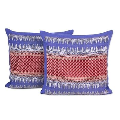 Novica Chiang Rai Sky Brocade Cotton Pillow Cover (Set of 2)