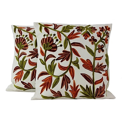 Novica Blossoms Aari Embroidery Cotton Pillow Cover (Set of 2)