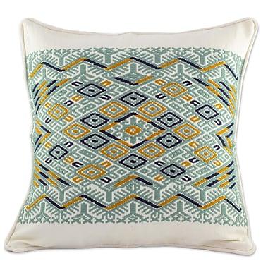 Novica Ceiba Tree Maya Backstrap Woven Cotton Pillow Cover