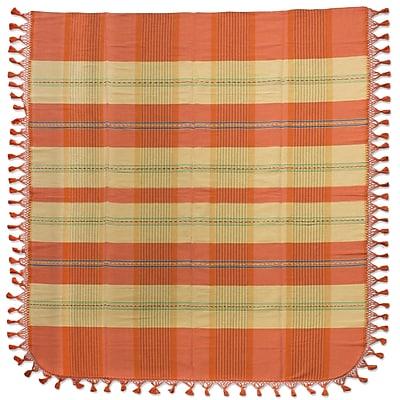 Novica Zapotec Morning Rays Hand Woven Cotton Twin Bedspread