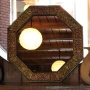 Novica Memories Beckon Repousse Brass Wall Mirror and Frame